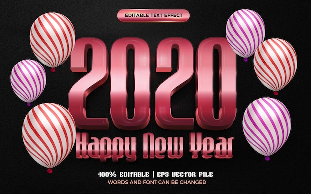 Happy new year rose gold glossy 3d editable text effect style template