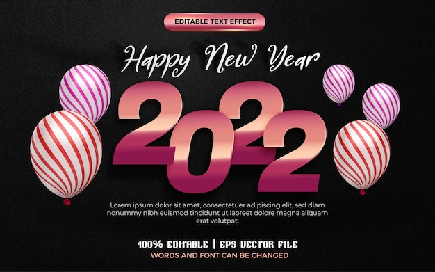 Happy new year rose gold glossy plate 3d editable text effect style template