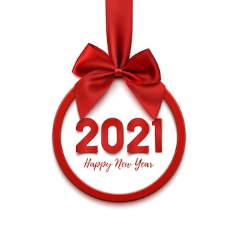Happy new year round abstract banner with red ribbon and bow, isolated on white banner.