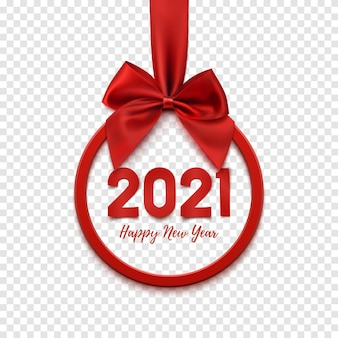 Happy new year round abstract banner with red ribbon and a bow.