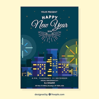 Happy new year's poster with fireworks in the city