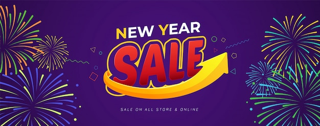 Happy new year sale banner template design