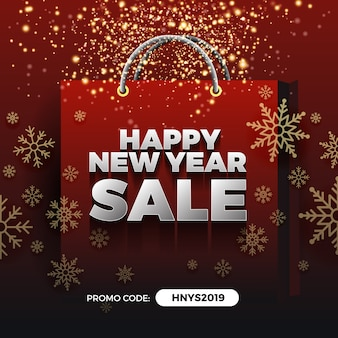 Happy new year sale promotion background design