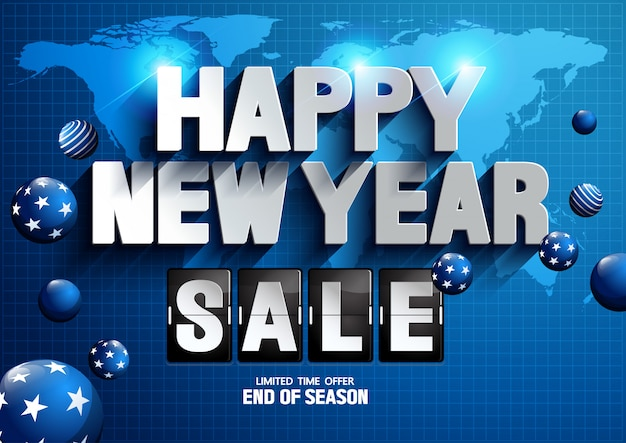 Happy new year sale world map background