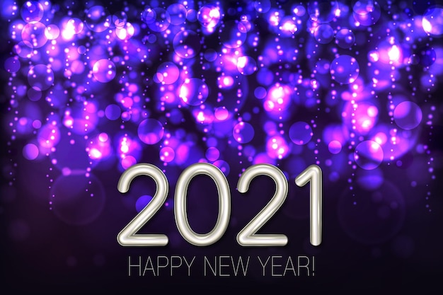 Happy new year shining background with purple glitter and confetti.