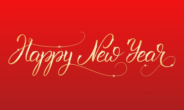 Happy new year  shiny gold lettering calligraphy