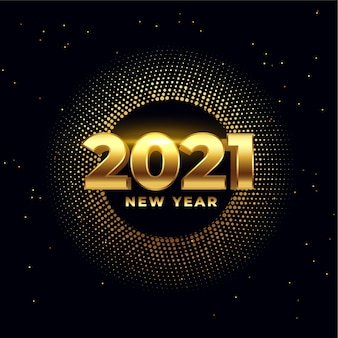 Happy new year shiny golden 2021 wishes card