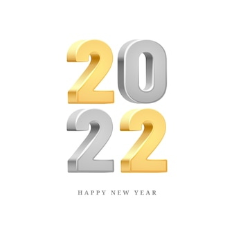 Happy new year silver and gold d text isolated on white background greeting card design