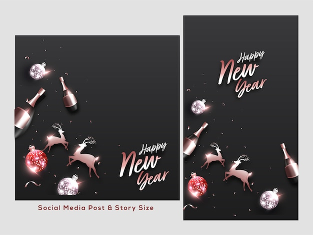 Happy new year social media post set with reindeer, disco balls, champagne bottles decorated black background.