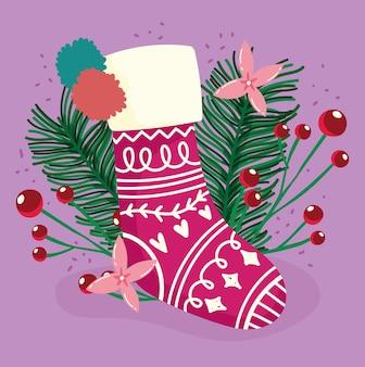 明けましておめでとう、ポインセチアの花のストッキングヒイラギの果実の装飾、カードのお祝いの花柄