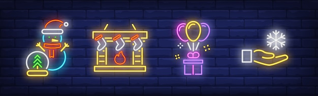 Happy new year symbols set in neon style