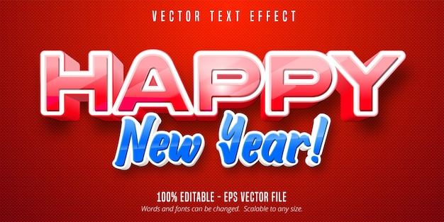 Happy new year text, cartoon style editable text effect