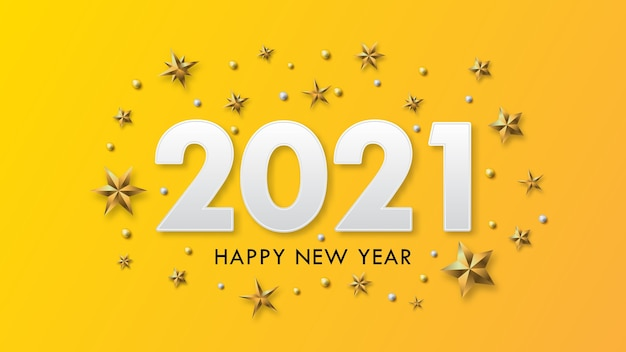 Happy new year  text design with gold beats and stars on yellow background.