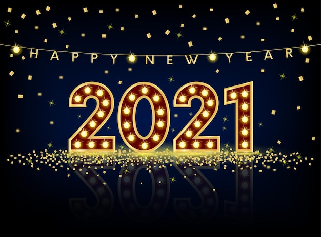 С новым годом дизайн текста с золотыми числами