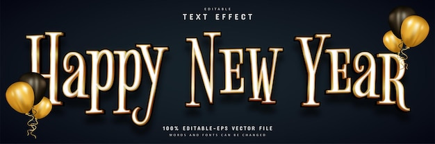 Happy new year text effect gold style editable