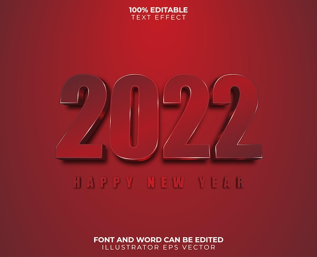 Happy new year text effect red white shiny full editable