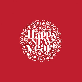 Happy new year text lettering circle shape card template