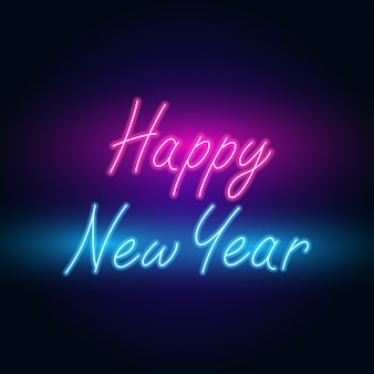 Happy new year. text neon with bright lighting.