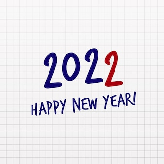 Happy new year text numbers on notebook page paper office empty sheet cell grid pattern note page