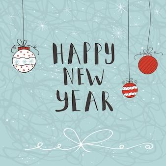 С новым годом текст на зимнем фоне со снегом и снежинками. шаблон поздравительной открытки, плакат с цитатой рисованной. дизайн футболки, дизайн карты или элемент домашнего декора. вектор.