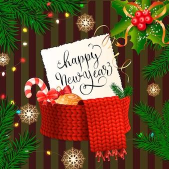スカーフ付き紙に新年あけましておめでとうございます