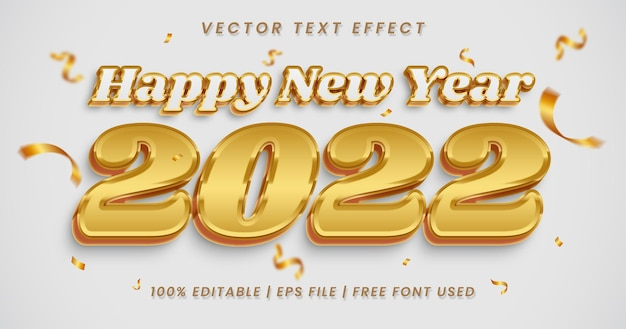 Happy new year text, white and gold editable text effect style