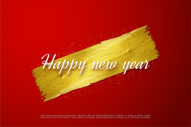 Happy new year text in white writing on gold glitter.