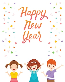 Happy new year text with boy and girl