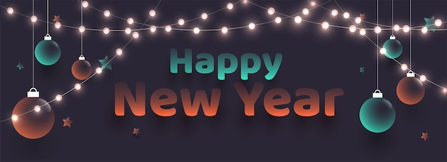 Happy new year text with hanging glossy baubles and lighting garlands decorated background