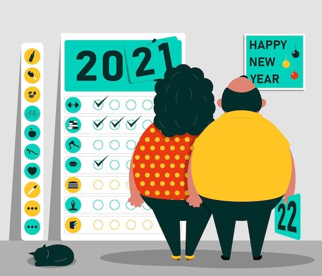 С новым годом концепция идей развития и здорового образа жизни в новом году