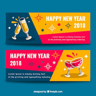 Happy new year toast banners