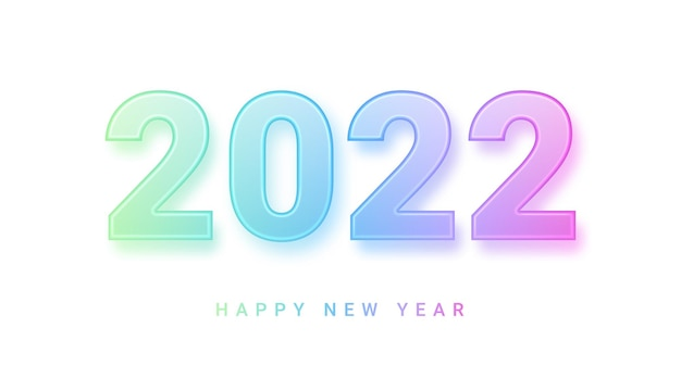 Happy new year transparent gradient glass numbers with shadow isolated on white vector illustration