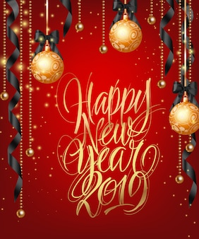 Happy new year, twenty nineteen lettering with gold baubles