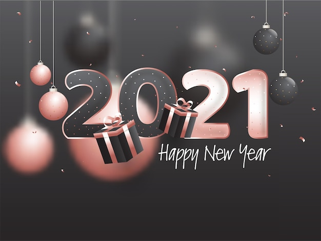 Happy new year twenty twenty one concept