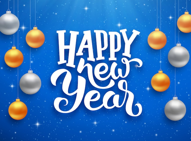 Happy new year typography on vector card