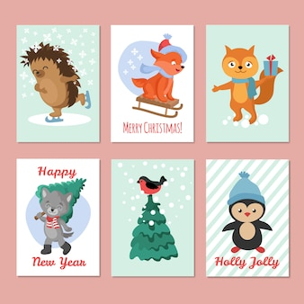 Happy new year vector flyers. merry christmas postcard with cute winter animals