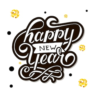 Happy new year vector gradient phrase lettering calligraphy sticker gold