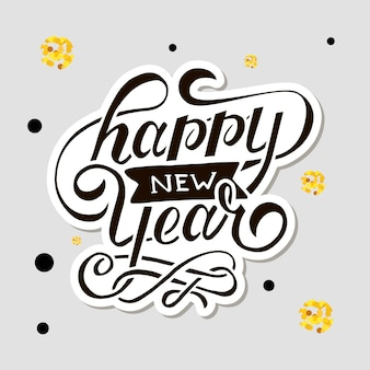 Happy new year vector gradient phrase lettering calligraphy