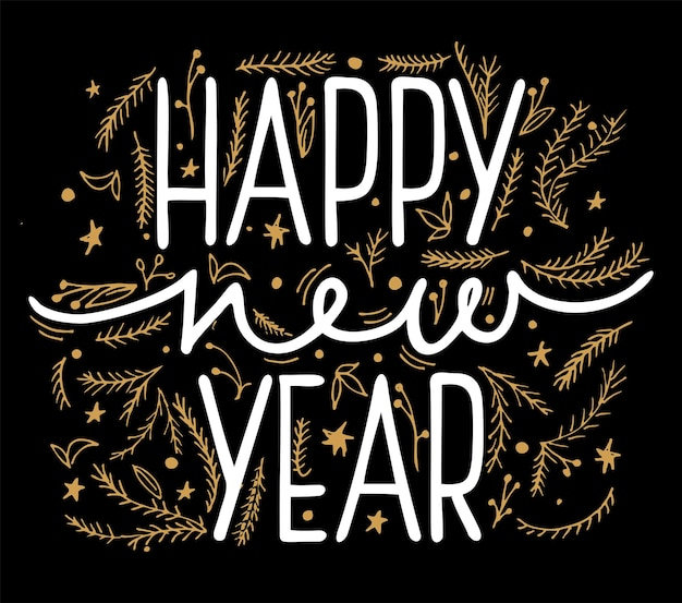 Happy new year vector illustration for banner flyer and greeting card white lettering inscription