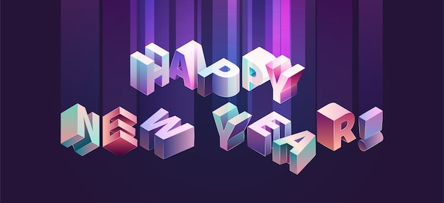 Happy new year vector isometric typogrphy in violet and purple vebrant colors with gradient