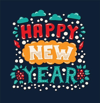 Happy new year - vector modern flat design hipster illustration with hand written phrase