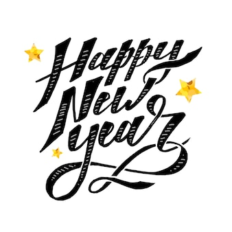 Happy new year vector phrase lettering calligraphy brush