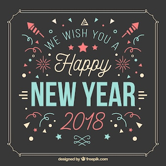 Happy new year vintage background with confetti and fireworks
