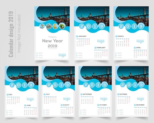 Happy new year wall calendar 2019