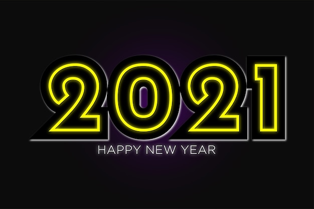 Happy new year  wallpaper in neon design premium vector