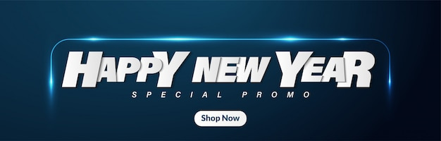 Happy new year web banner background with glowing and futuristic style