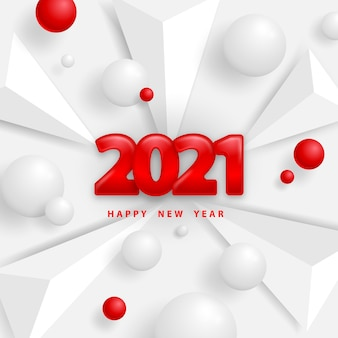 Happy new year white background with triangles and balls