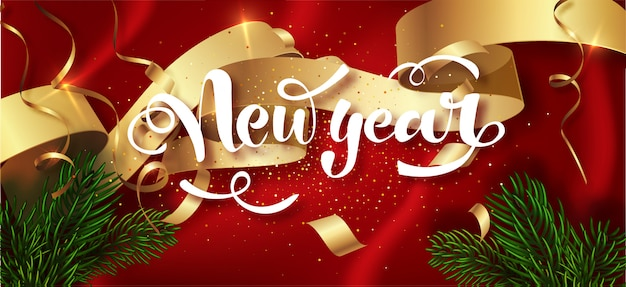 Happy new year winter holiday greeting card  template. calligraphic new year lettering decorated. party poster, banner for invitation gold glitter stars confetti glitter decoration. .