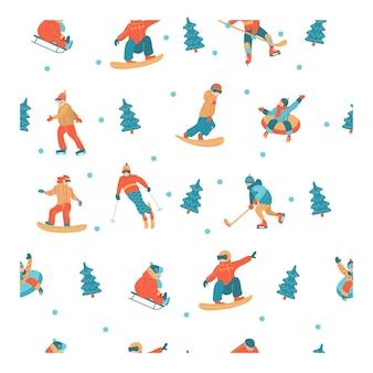 새해 복 많이 받으세요. 겨울 스포츠 및 엔터테인먼트.