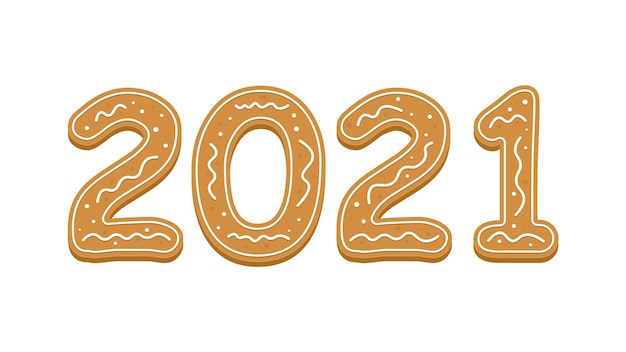 Happy new year with 2021 in gingerbread style